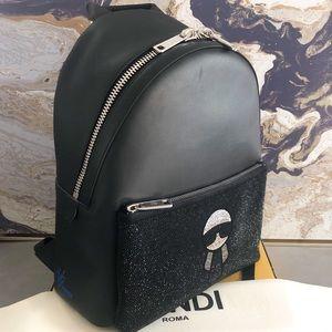 Ltd Edition Fendi Crystal Carlito Large Backpack